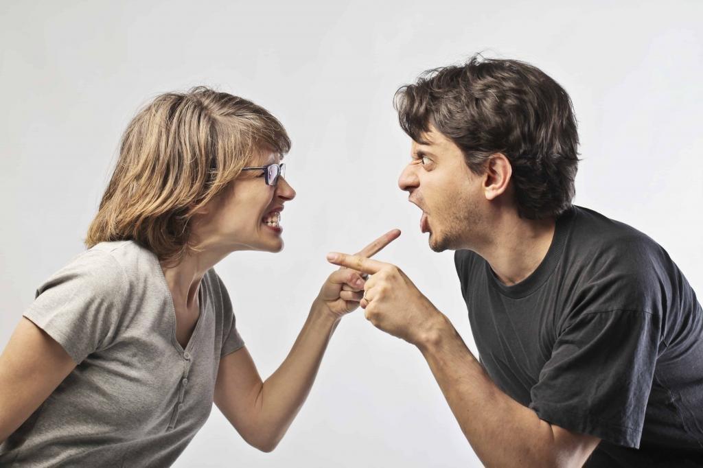 Муж и жена спорят.